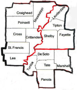 Map of counties served:  east AR, north MS, west TN